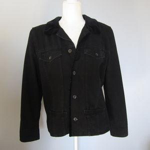 Lizwear Black Denim Jacket With Velvet Trim